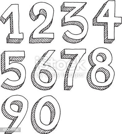 Hand-drawn vector drawing of a Number Set. Black-and-White sketch on a transparent background (.eps-file). Included files: EPS (v8) and Hi-Res JPG.