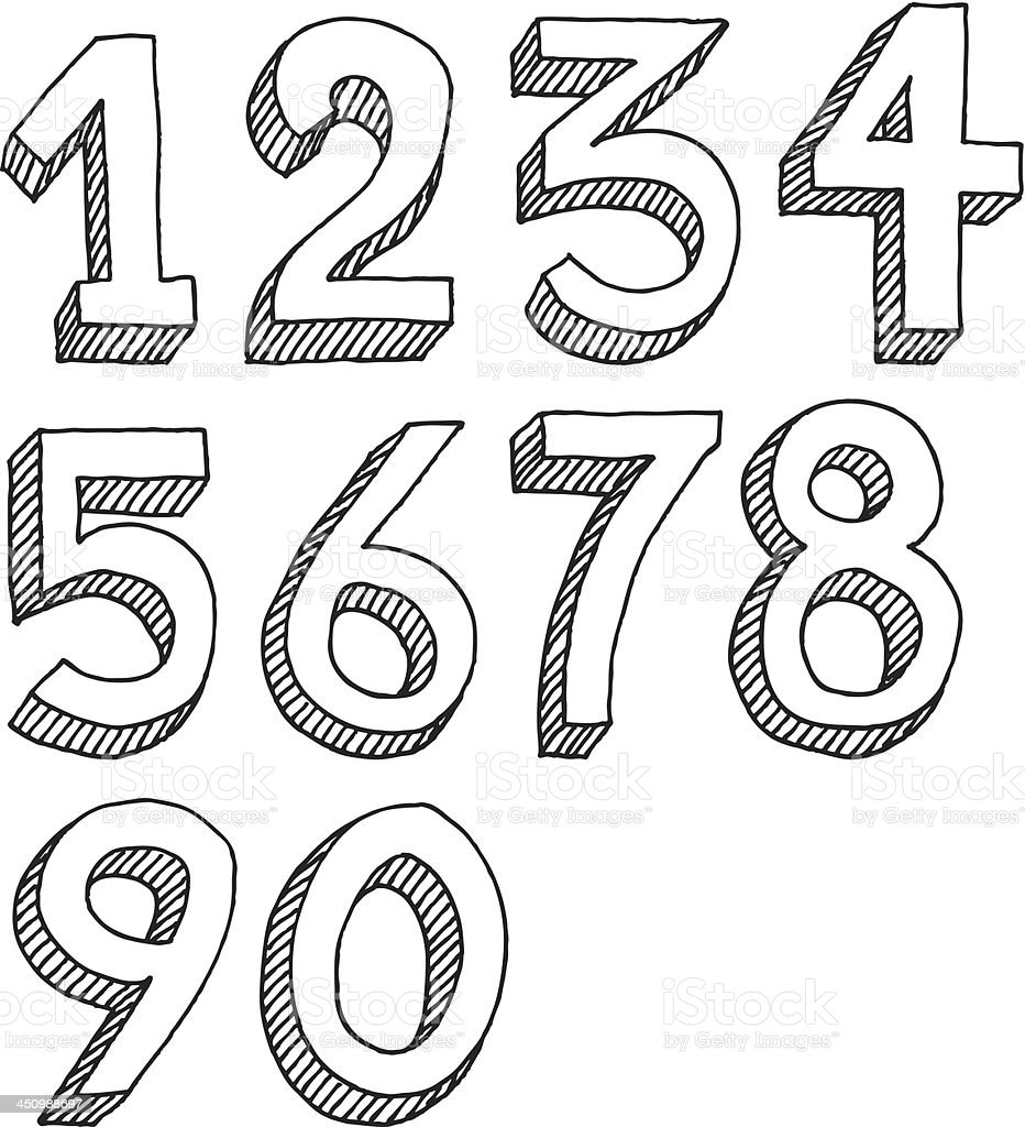 Number Set Drawing vector art illustration