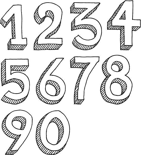 Number Set Drawing vector art illustration