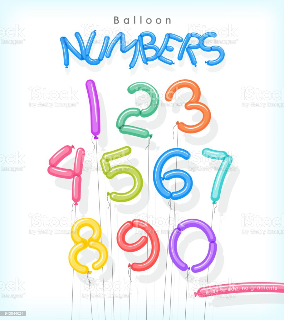 Number set illustrated as colorful twisted balloons. vector art illustration
