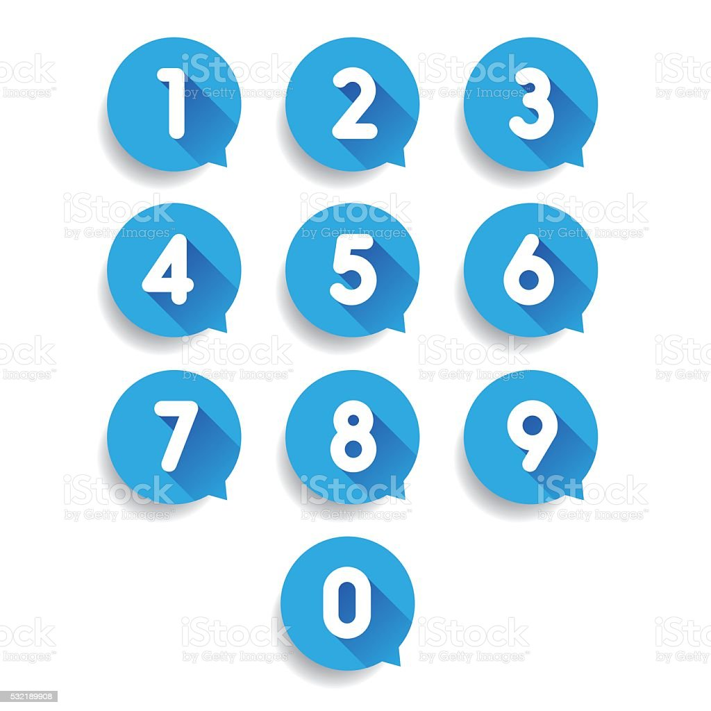 Number set speech bubble vector vector art illustration