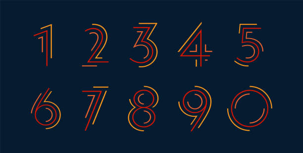 Number set vector numbers alphabet, modern dynamic flat design with brilliant colorful for your unique elements design ; logo, corporate identity, application, creative poster & more Colorful striped dynamic numbers design alphabet patterns stock illustrations