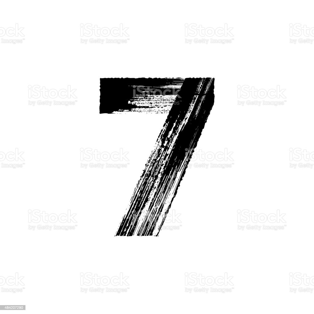Number Seven 7 hand drawn with dry brush vector art illustration