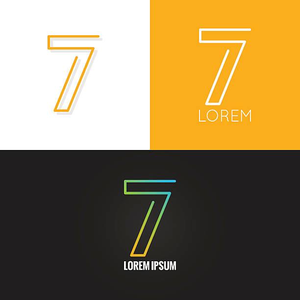 bildbanksillustrationer, clip art samt tecknat material och ikoner med number seven 7 logo design icon set background - 6 7 år