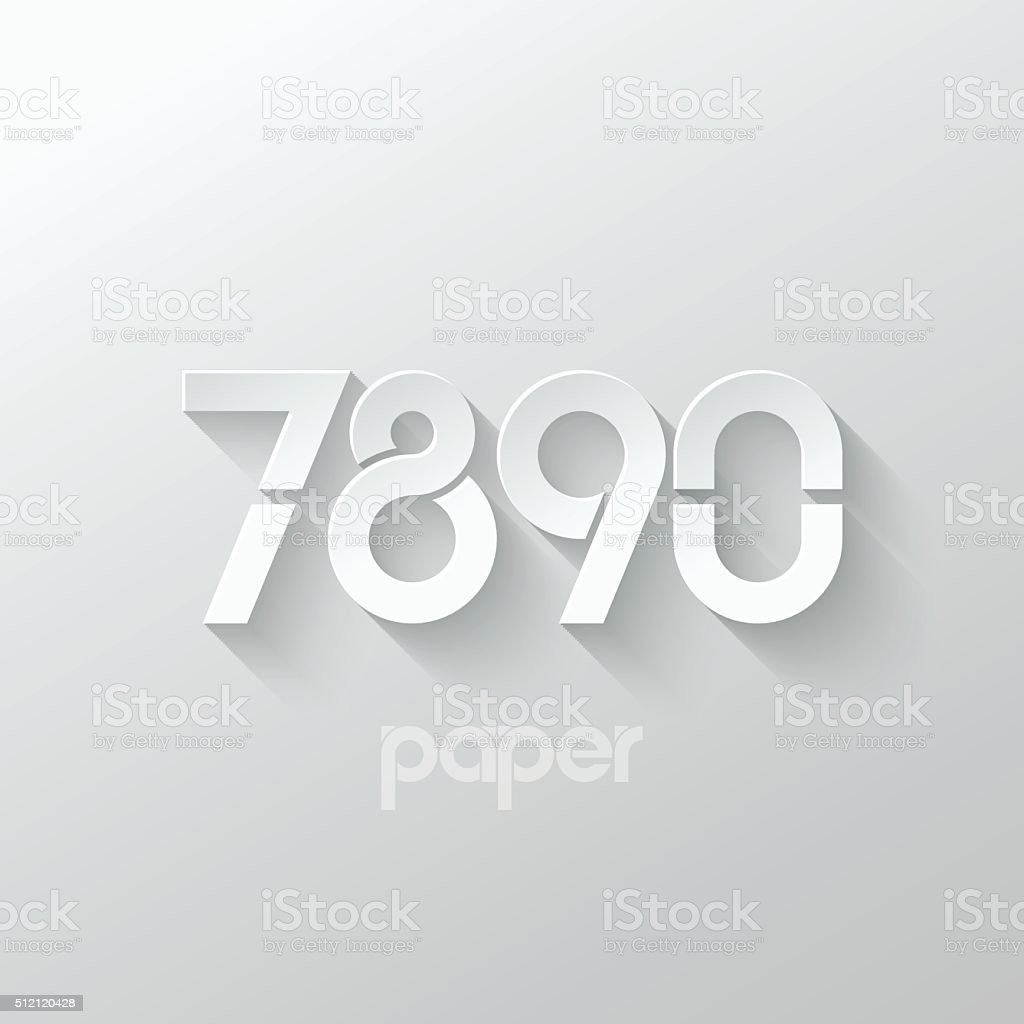 number seven  eight  nine  zero  logo paper set vector art illustration