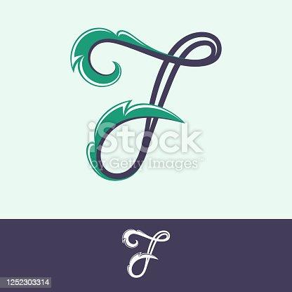 istock Number seven logo in floral vintage style. 1252303314