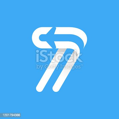 istock Number seven logo with plane and airline inside. 1201794366