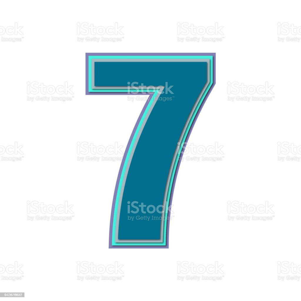 Number Seven With Colorful Colors And Soft Shadow Vector Stock ...