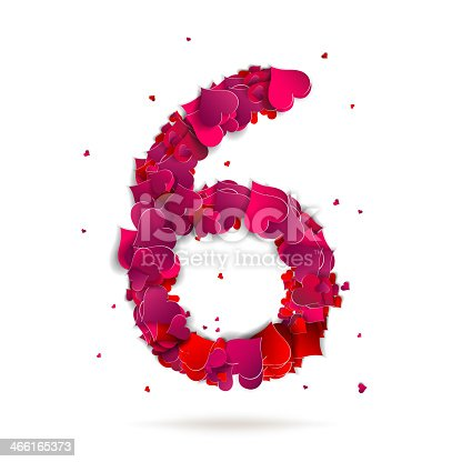 Number six, 6 made from red hearts Love alphabet