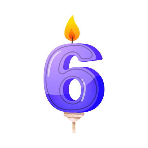 Number six birthday party, anniversary candle. Clipart,realistic 3D raster illustration Cartoon number six candle. Celebration, birthday party cake decoration, wax candle illustration. Isolated clip art raster icon set anniversary clipart stock illustrations