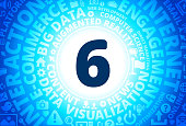 Number Six Icon on Internet Modern Technology Words Background. This blue vector background features the main icon in the center of the image. The icon is surrounded by a set of conceptual words and technology and internet icons. The icon is highlighted by a strong starburst glow effect and stands out from the rest of the image. The technology terminology is arranged in a circular manner. The predominant tone of the image is blue with a circular gradient that originates from the center of the composition.