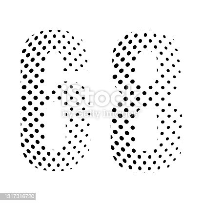 istock Number Sixty-eight, 68 in halftone. Dotted illustration isolated on a white background. Vector illustration. 1317316720
