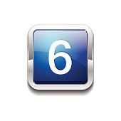 6 Number Rounded Corner Vector Blue Web Icon Button