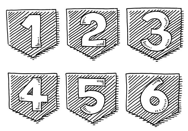 number stickers from 1 to 6 drawing - jeden przedmiot stock illustrations