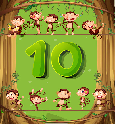 Number ten with 10 monkeys on the tree