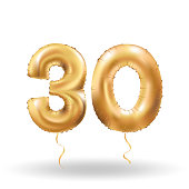 Golden number thirty metallic balloon. Party decoration golden balloons. Anniversary sign for happy holiday, celebration, birthday, carnival, new year. Metallic design balloon.