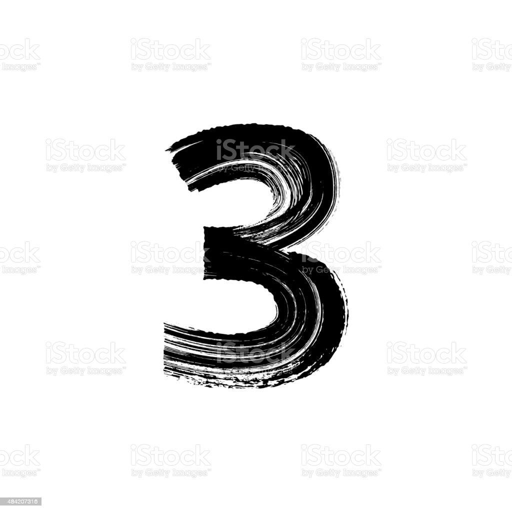 Number Three 3 hand drawn with dry brush向量藝術插圖