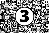 Number Three Icon Black and White Internet Technology Background. This image features the main icon on a white round button. The vector button is surrounded by a seamless pattern of internet and modern technology icons. The icons vary in size and are white in color. The background is a solid black color. Icons include such technology elements as computer, email, internet, communications and many more.