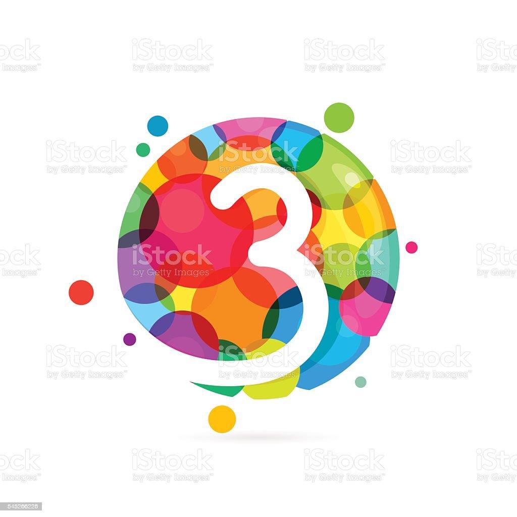 Number three icon with rainbow dots stock vector art more images number three icon with rainbow dots royalty free number three icon with rainbow dots biocorpaavc