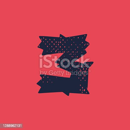 istock Number three logo in horror style with grunge texture. 1288962131