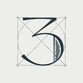 istock Number three logo with construction grid lines. 1301151314