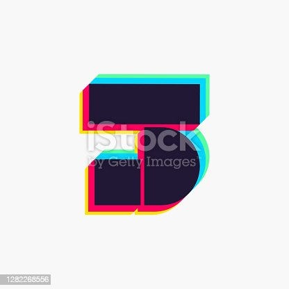 istock Number three logo with stereo effect. 1282268556