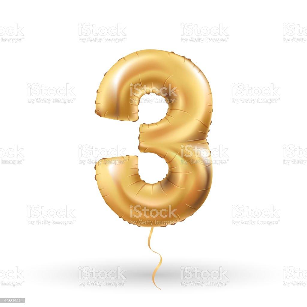 number three metallic balloon向量藝術插圖