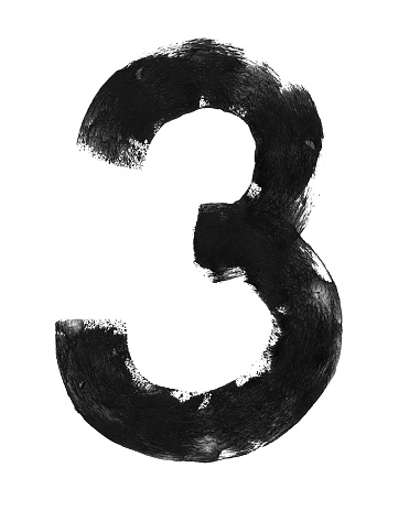 Number three painted by two round hand movement with narrow poorly saturated paint roller and black paint on white paper background - original uneven irregular messy vector illustration with amazing beautiful shape