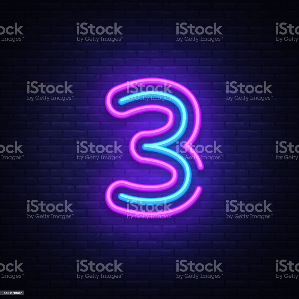 Number Three Symbol Neon Sign Vector Third Number Three Template ...