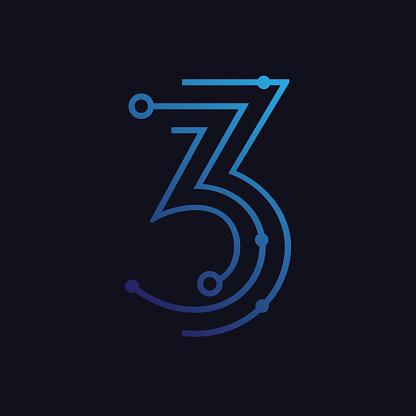 Number three / third / 3 vector font alphabet