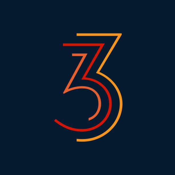 ilustrações de stock, clip art, desenhos animados e ícones de number three / third vector numbers alphabet, modern dynamic flat design with brilliant colorful for your unique elements design ; logo, corporate identity, application, creative poster & more - terceira