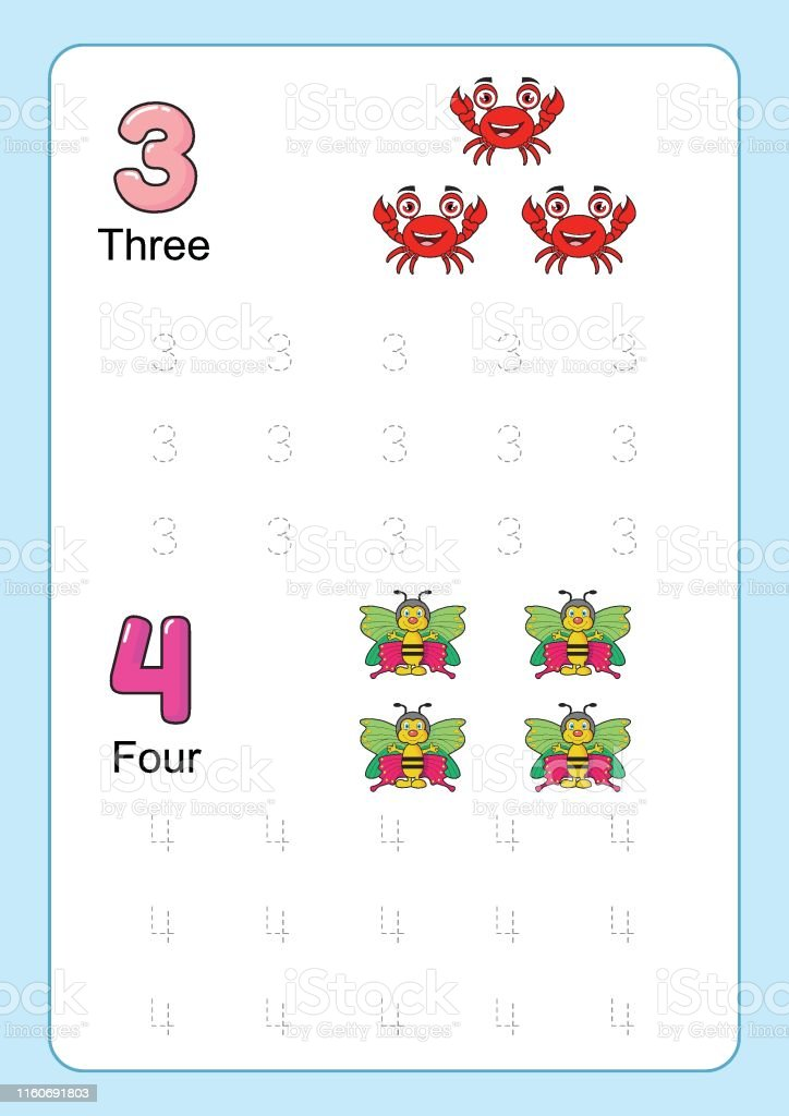 Number Tracing And Writing Tracing Worksheet For Kindergarten Learning  Number With Cartoon Clipart For Counting Worksheets Free Handwriting Vector  Illustration Stock Illustration - Download Image Now - IStock