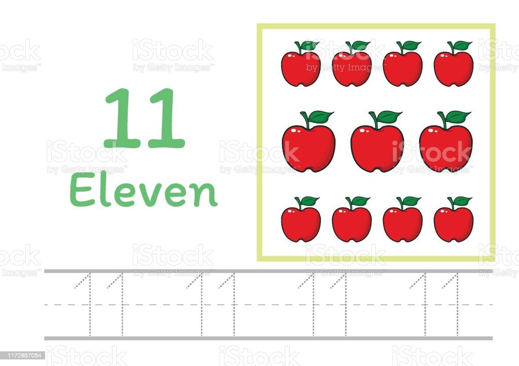 Number Tracing And Writing Tracing Worksheet For Kindergarten Learning  Number With Cartoon Clipart For Counting Worksheets Free Handwriting Vector  Stock Illustration - Download Image Now - IStock