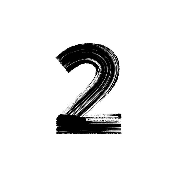 Number Two 2 hand drawn with dry brush Vector number Two 2 hand-drawn with dry brush gezond stock illustrations