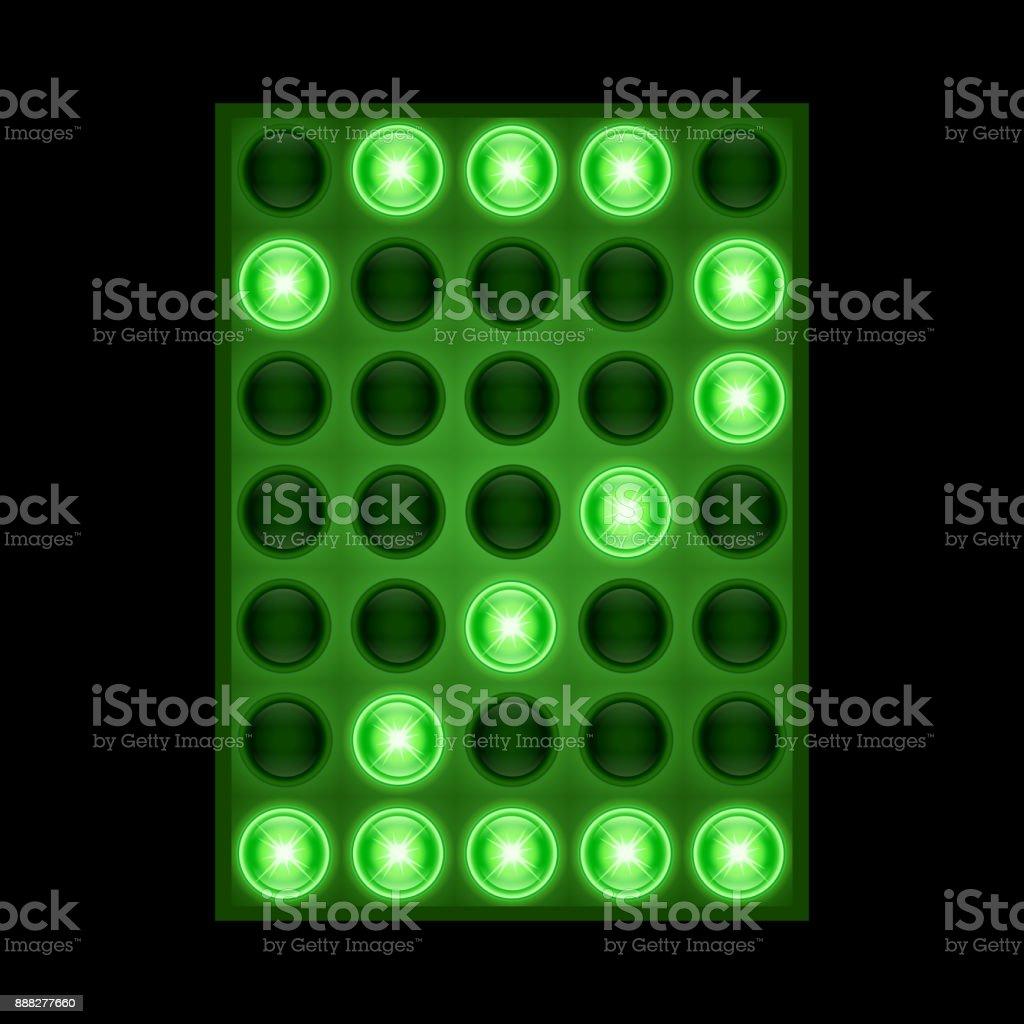 Die Nummer 2 auf grüne LED angezeigt. – Vektorgrafik