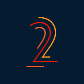 Number two / second vector numbers alphabet, modern dynamic flat design with brilliant colorful for your unique elements design ; logo, corporate identity, application, creative poster & more