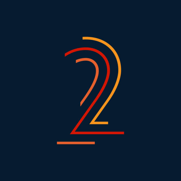 Number two / second vector numbers alphabet, modern dynamic flat design with brilliant colorful for your unique elements design ; logo, corporate identity, application, creative poster & more Colorful striped dynamic numbers design gezond stock illustrations