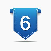 6 Number Vector blue Web Icon