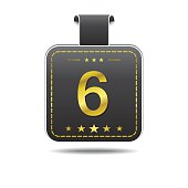 6 Number Vector golden Web Icon