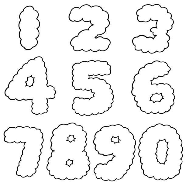 illustrations, cliparts, dessins animés et icônes de numéro de  - nuage 6