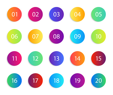 Number with circle. Gradient round icons. Set of infographic points, bullets. List from 1 to 20 for circular button. Design bubbles for interface. Modern neon symbol. Multicolor steps for web. Vector
