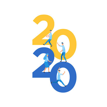 2020 number with mini people work together flat illustration
