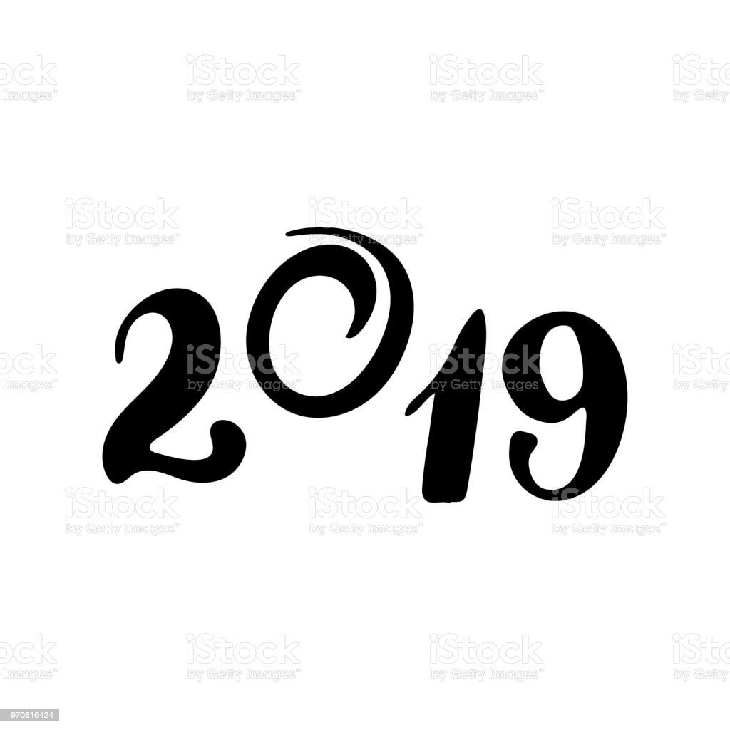 2019 Number With Silhouette Of A Pig For New Year And Christmas