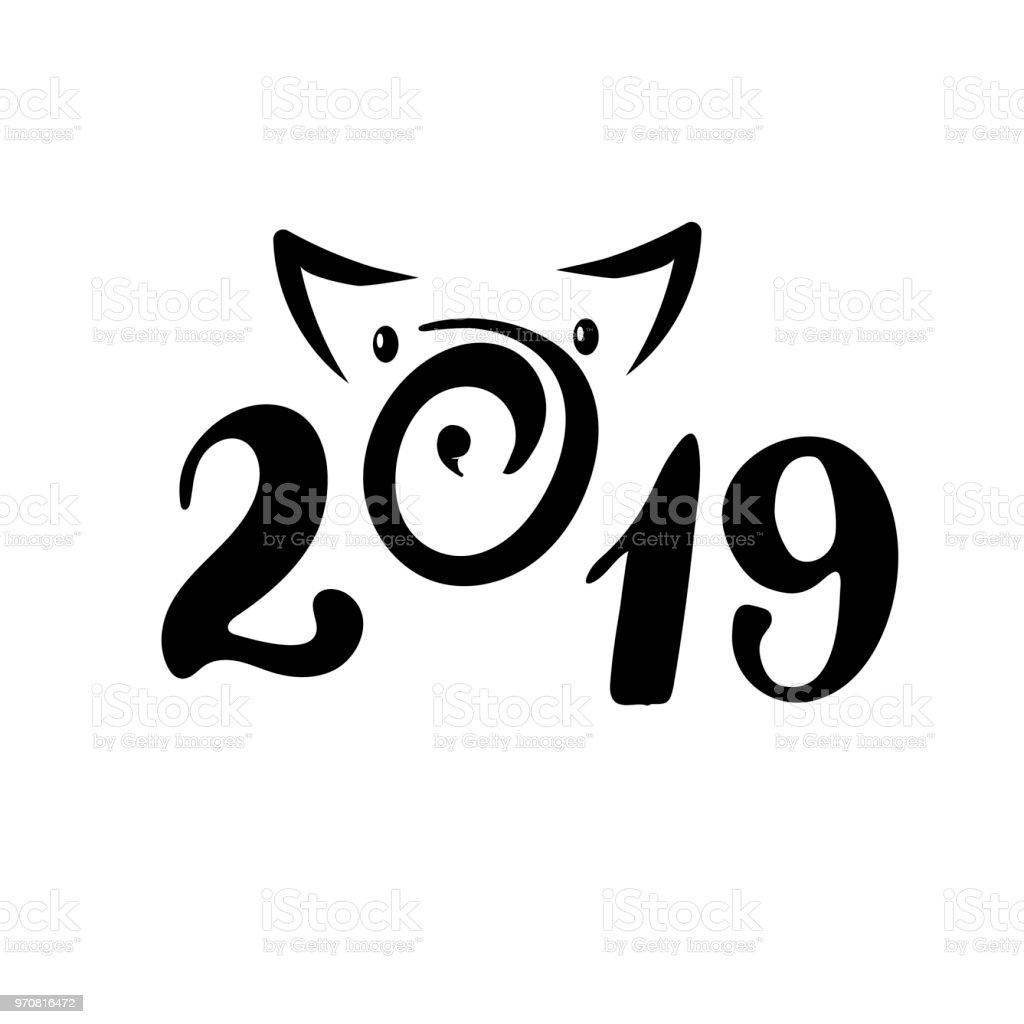 Siluet 2019 Numarasıyla Yeni Yıl Ve Noel Kartı Poster Afiş Için Bir