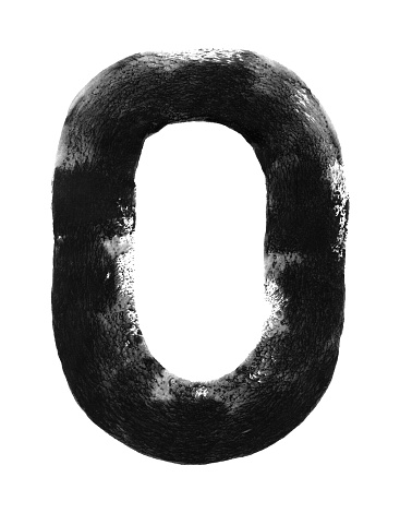 Number zero - capital letter O hand painted with one rounded line applied with a wide roller and black paint on white paper card - abstract vector illustration with uneven messy trace uneven edges and spongy texture with amazing details