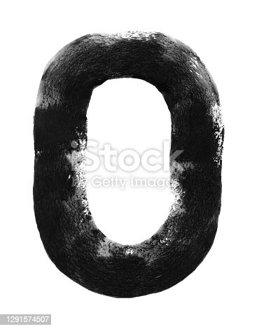 istock Number zero - capital letter O hand painted with one rounded line applied with a wide roller and black paint on white paper card - abstract vector illustration with uneven messy trace uneven edges and spongy texture with amazing details 1291574507