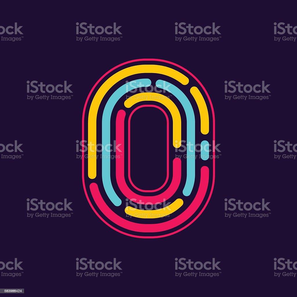 Number zero icon formed by neon line or fingerprint. vector art illustration