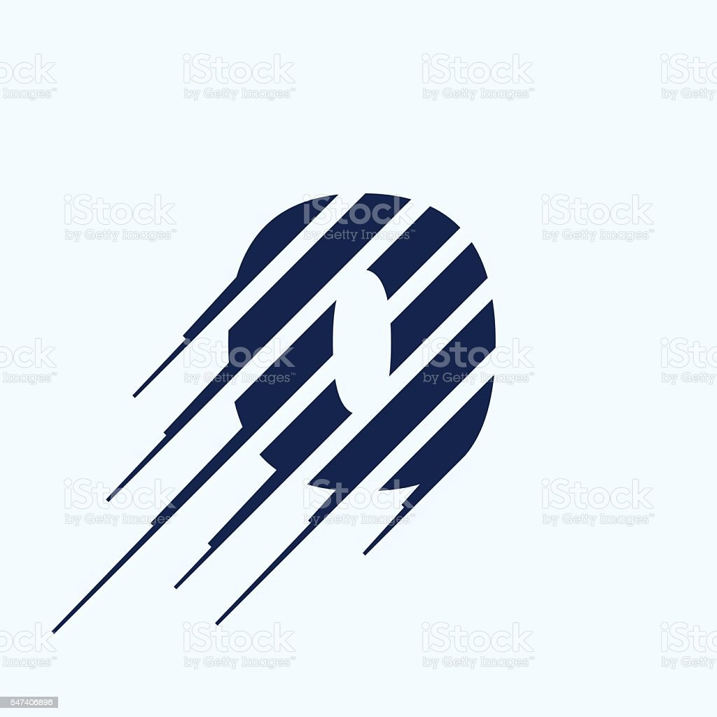 Number zero icon with fast speed lines. vector art illustration