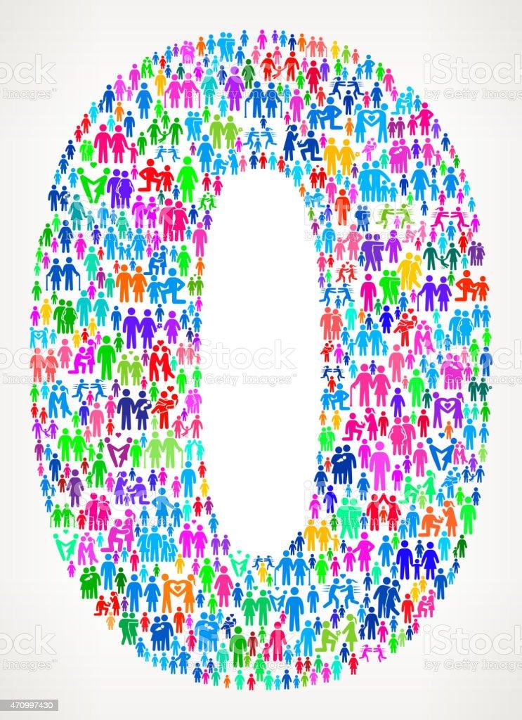 Number Zero on vector family pattern Background vector art illustration