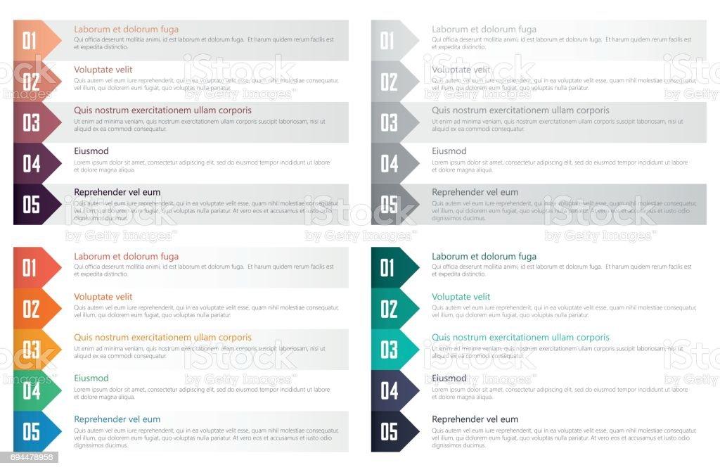 numbered list design template - illustrazione arte vettoriale